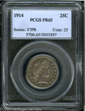 Proof Barber Quarters: , 1914 25C PR65 PCGS. Deep, milky, steel-blue, rose-mauve, and dark-green toning adorns each side of this attractive Gem. Onl...