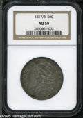 Bust Half Dollars: , 1817/3 50C AU50 NGC. O-101, R.3. Among the more obvious overdateswithin the Half Dollar series, the lower loop of the 3 is...