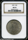 Bust Half Dollars: , 1822 50C MS65 NGC. O-106, R.3. Lovely aquamarine and salmon-pinkcolors adorn this exquisitely struck and fully lustrous Ge...