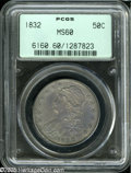 Bust Half Dollars: , 1832 50C Small Letters MS60 PCGS. O-122, R.1. This variety isattributed by a short, vertical line from the right (facing) ...