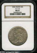 Bust Half Dollars: , 1836 50C 50 Over 00 MS61 NGC. O-116, R.2. Gentle apricot andbattleship-gray toning visits this shimmering and surprisingly...