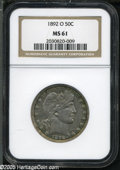 Barber Half Dollars: , 1892-O 50C MS61 NGC. Softly struck on the reverse, but free ofgrade-limiting abrasions. Steely-gray coloration with mottle...