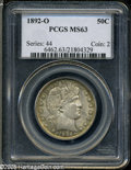 Barber Half Dollars: , 1892-O 50C MS63 PCGS. The 1892-O is a scarcer issue and is seldomseen in the better grades of Mint State. This piece shows...