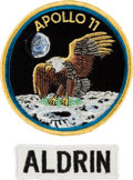 "Explorers:Space Exploration, Apollo 11 Crew Patch by Texas Art Embroidery as Worn on Bio-Garments in Quarantine [and] ""ALDRIN"" White Cloth Name Tag, Origin... (Total: 2 Items)"