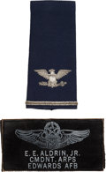Explorers:Space Exploration, Buzz Aldrin's Edwards AFB Aerospace Research Pilot School Commandant Leather Name Tag [and] Air Force Colonel's Shoulder B... (Total: 2 Items)
