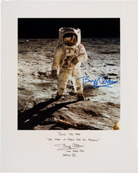 """Buzz Aldrin Signed (Twice) Large """"Visor"""" Color Photo with Lengthy Added Comments, Originally from His Personal..."""