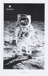 """Buzz Aldrin Signed Large Apollo 11 Apple Computer """"Think Different"""" Ad Slick (1999) Originally from His Person..."""