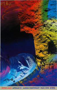 """Buzz Aldrin and Peter Max Signed """"Apollo 11 - Moon Footprint 1969/1999"""" Print, Originally from Aldrin's Person..."""