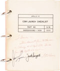 Explorers:Space Exploration, Apollo 13 Flown and Crew-Signed NASA CSM Launch Checklist Book Originally from the Personal Collection of the Book...