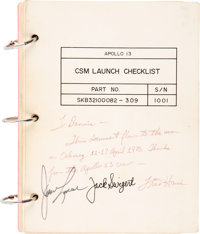 Apollo 13 Flown and Crew-Signed NASA CSM Launch Checklist Book Originally from the Personal