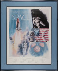 """Explorers:Space Exploration, Robert L. Rasmussen Signed Limited Edition """"Naval Aviation in Space"""" Print, #884/1000, Signed by Nine Astronauts, with Certifi..."""