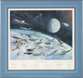 """Explorers:Space Exploration, William J. Reynolds 1982 Limited Edition """"Great Moments In Aviation History"""" (Gathering of Eagles) Print, the First and Most I..."""