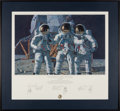 "Explorers:Space Exploration, Alan Bean Signed Limited Edition ""Conrad, Gordon, and Bean: The Fantasy"" Print, also Signed by Charles Conrad and Richard Gord..."