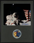 Explorers:Space Exploration, Gene Cernan Signed Large Apollo 17 Lunar Surface Flag Color Photo in Framed Display with Mission Patch. ...