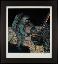 """Alan Bean Signed """"Locking Up the Rocks"""" Print for Associated Aviation Underwriters in Framed Display"""
