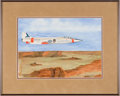 Explorers:Space Exploration, Michael Collins Original Watercolor of the Air Force's F-104A #748 Starfighter by Lockheed with Novaspace Certificate of Authe...