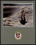 Explorers:Space Exploration, Charlie Duke Signed Large Apollo 16 Lunar Surface Color Photo in Framed Display with Mission Patch. ...