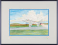 Explorers:Space Exploration, Michael Collins Original Watercolor of the Air Force's F-100D Super Sabre by North American, in Framed Display. ...