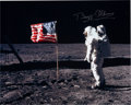 Explorers:Space Exploration, Buzz Aldrin Signed Large Apollo 11 Lunar Surface American Flag Color Photo Originally from His Personal Collection....