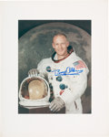 Explorers:Space Exploration, Buzz Aldrin Signed Large Apollo 11 White Spacesuit Color Photo Originally from His Personal Collection. ...