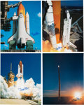 Explorers:Space Exploration, Buzz Aldrin Signed Large Space Shuttle Color Photos (Four) Originally from His Personal Collection. ... (Total: 4 Items)
