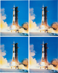 Buzz Aldrin Signed Large Apollo 11 Launch Color Photos (Four) Originally from His Personal Collection