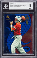 Football Cards:Singles (1970-Now), 2000 Fleer E-X Tom Brady Essential Credential #122 BGS Mint 9 - Numbered 10/25 - College Jersey Number 1/1!...