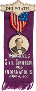 Political:Ribbons & Badges, William Jennings Bryan: Indianapolis State Convention Ribbon Badge. ...