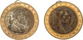 Political:Ferrotypes / Photo Badges (pre-1896), Ulysses S. Grant and Horatio Seymour: Pair of Dual-Portrait Brass Shell Lockets.... (Total: 2 Items)