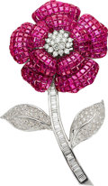 Estate Jewelry:Brooches - Pins, Ruby, Diamond, White Gold Brooch. ...