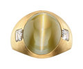 Estate Jewelry:Rings, Gentleman's Cat's-Eye Chrysoberyl, Diamond, Gold Ring. ...