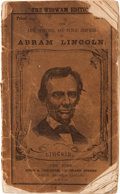 """Political:Small Paper (pre-1896), Abraham Lincoln: """"Wigwam Edition"""" Campaign Biography in Pictorial Wraps...."""