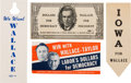 Political:Small Paper (1896-present), Henry A. Wallace: Four Pieces of Campaign Ephemera. ...