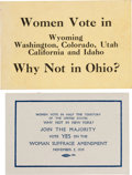 Political:Small Paper (1896-present), Woman's Suffrage: Ballot Measure Campaign Handouts. ... (Total: 2Items)