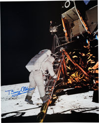 Buzz Aldrin Signed Large Apollo 11 Lunar Surface Color Photo Originally from His Personal Collection