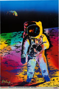 """Explorers:Space Exploration, Buzz Aldrin and Peter Max Signed Peter Max """"Apollo 11 - Walking on the Moon 1969/1999"""" Large Print Originally from Aldrin's Pe..."""