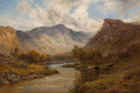Alfred de Bréanski (British, 1852-1928) The Tay near Dunkeld, Scotland Oil on canvas 16 x 24 inch