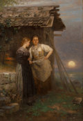 Paintings, Johann Friedrich Engel (German, 1844-1921). The love letter. Oil on panel. 22-1/2 x 15-1/2 inches (57.2 x 39.4 cm). Sign...