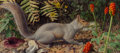 Paintings, Raymond Booth (British, born 1929). Squirrel on a woodland floor, 1969. Oil on masonite. 9-1/2 x 21-1/4 inches (24.1 x 5...