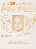 Political:Small Paper (1896-present), Harry S Truman: Alabama-Published Campaign Sheet Music....