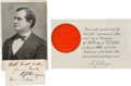 Autographs:Statesmen, William Jennings Bryan: Two Autographs.... (Total: 2 Items)