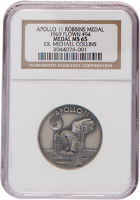 Apollo 11 Flown MS65 NGC Silver Robbins Medallion, Serial Number 94, Originally from the Personal Collection of Mission...