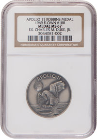 Apollo 11 Flown MS67 NGC Silver Robbins Medallion, Serial Number 188, Originally from the Personal Collection of Mission...
