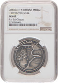 Explorers:Space Exploration, Apollo 17 Flown MS67 NGC Silver Robbins Medallion, Serial Number F44, Originally from the Personal Collection of Astronaut Ed ...
