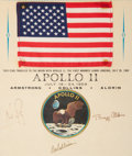 Explorers:Space Exploration, Apollo 11 Flown American Flag on a Crew-Signed Presentation Certificate, with Zarelli LOA, in Framed Display. ...