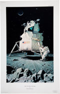 """Explorers:Space Exploration, Norman Rockwell Limited Edition """"Man's First Step On The Moon"""" Print, #902/1000, with 1988 Serial Numbered Certificate of Auth..."""