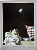 """Explorers:Space Exploration, Alan Bean Signed (Twice) Limited Edition """"Too Beautiful To Have Happened By Accident"""" Print, #416/600, also Signed by Gene Cer..."""