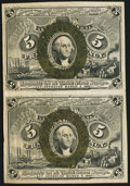 Fractional Currency:Second Issue, Fr. 1234 5¢ Second Issue Vertical Pair Very Fine-Extremely Fine.. ...