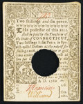 Colonial Notes:Connecticut, Connecticut July 1, 1780 2s 6d Hole Cancel Choice About New.. ...