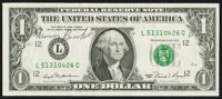 Fr. 1911-L $1 1981 Federal Reserve Note. Courtesy Autograph. Very Fine+